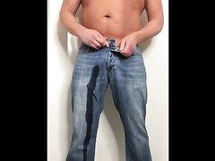 Beefy Muscle Dude Pisses himself in Denim Jeans