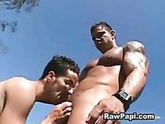 Hot bodybuilder guy fuck small guy outdoor