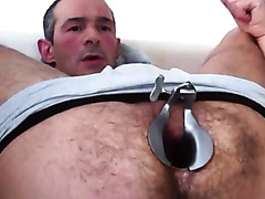 Buddy cranks his hairy asshole open