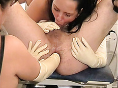 Kinky latex mistresses blow and finger him