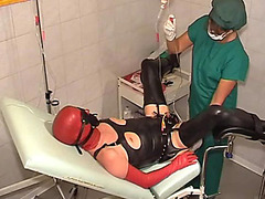 Medical fetish play with catheter and enema