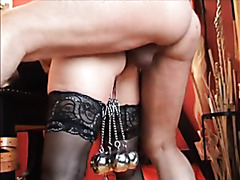 Ass fucked slave with weights hanging from cunt