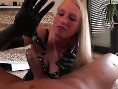 Latex glove handjob from my blonde wife