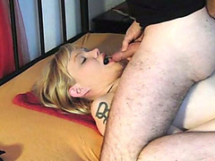 Kinky blonde wife swallows my morning urine