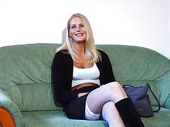 Cute slut talks to camera before her gangbang