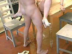 Pissing and fucking with a housewife in her kitchen