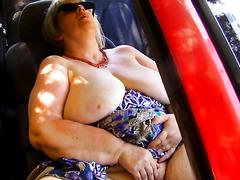 enormous granny in car