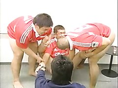 Naked Japanese rugby players in a TV game show