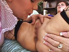 Young Spry Skank and Old Crusty Gramma Have a Suck-Off