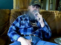 Bearded Biker Smoking and Jacking