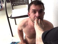 Russian master humiliates slave.