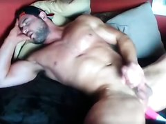 Bodybuilder self pleasure