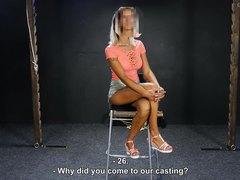 Blonde bimbo whipped on casting