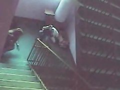 2 DIRTY SLUTS PISSING ON THE STAIRCASE