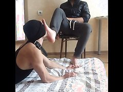 Slave at the feet of the Russian master.
