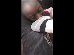 Black woman licking white master's feet