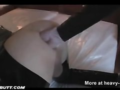 Latex Domina Wrecking Slave's Ass