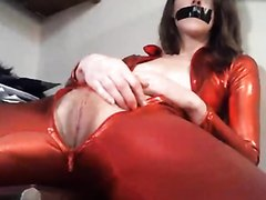 Red Bodysuit Skinny Sub Girl 1