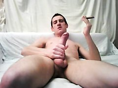 Wank and cum with cigar
