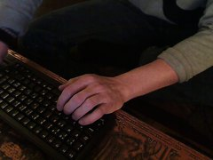 Amputee typing with one hand