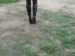 PIss and Mud licking from Goddess's boots