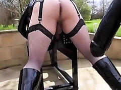 Sissy destroyed by a huge strap-on cock