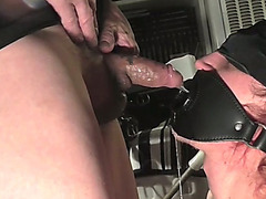 Throat fucking my blindfolded sex slave
