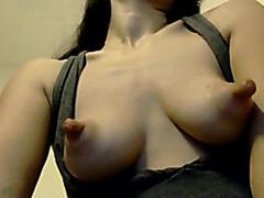 Huge nipples webcam show with a skinny amateur