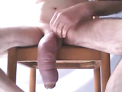 Massive swollen cock looks sexy hanging there