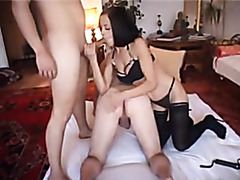 Mistress makes her bisexual slaves suck dick