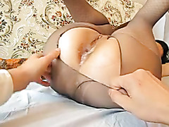 Pounding her anus and cumming deep inside her