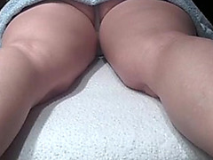 Fingering wife's shaved pussy hard