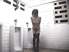 asian girl in public toilet