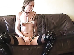 Dominant wife drills her husband with a strap on