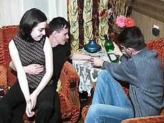 Bisexual teens enjoy a nice threesome