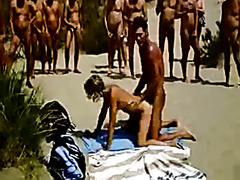 Couple going at it at the nudist beach