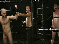 Gay hunk with tattooes bondage video