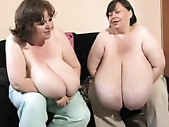 Two BBWs comparing their huge tits