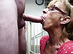 Blonde GILF gives a mean blowjob