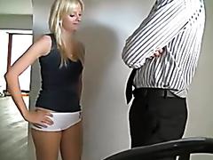 Beautiful blonde servers her man