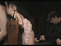 Blonde girl is tied up and dominated
