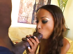 Ebony beauty gets drilled by a huge black cock