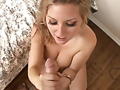 Slutty blonde takes a load on her pretty face