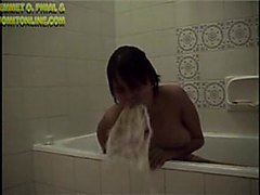 Girl in bathtub is puking
