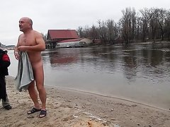 Men go to the cold water