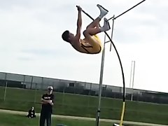 Pole Vaulter Hooks His Huge Dick And Balls On Crossbar