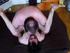 Older man fucks young hairy boyfriend