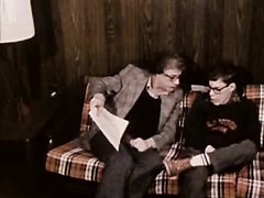 Disturbing vintage short of a man discussing hardons with a young man.