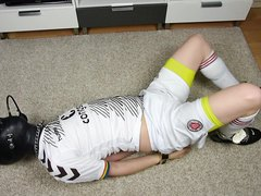 Soccer EmoBCSMSlave Rubber Hooded Hogtied -5mins Sample