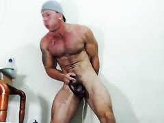 Muscle latino intense ass plug play